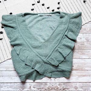Urban Outfitters Kimchi Blue Crop Ruffle Shirt XS